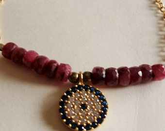 mothers day bracelet gold plated and Ruby