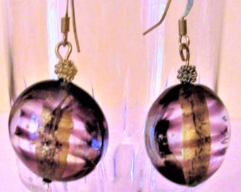 Purple and gold Murano glass earrings, mothers day