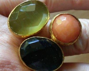 Big ring 3 stones adjustable size