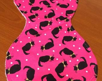 Pink and Black Cat Burp Rag