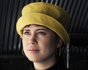 Handmade split brim dry oilskin hat - Yellow