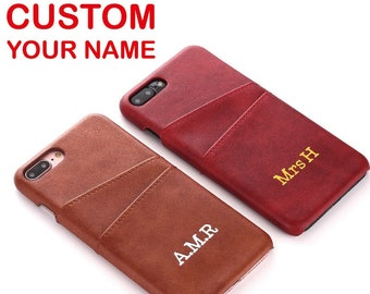 f38a0113d Personalised Custom Text Name Initials Genuine Leather Luxury Card Slot  Back Cover Case For iPhone 6 6S 7 8 Plus X XS XR Max