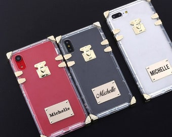 4677744b8 Personalised Custom Metal Plate Laser Engrave Text Name Date Trunk Clear Cover  Case For iPhone 6 6S 7 8 Plus X XS XR Max