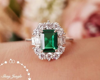 Art deco halo emerald ring, emerald engagement ring, emerald cut lab emerald, white gold plated silver, vintage emerald ring, cluster ring