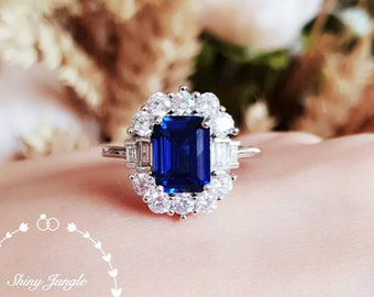 Art Deco Halo Genuine Lab Grown Sapphire Engagement Ring, Rectangular Emerald Cut Royal Blue Sapphire, September Birthstone Promise Ring