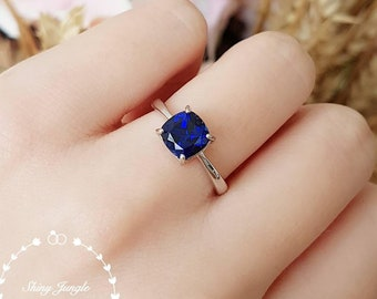 Cushion sapphire ring, square sapphire ring, lab sapphire ring, engagement ring, white gold plated sterling silver, blue gemstone ring