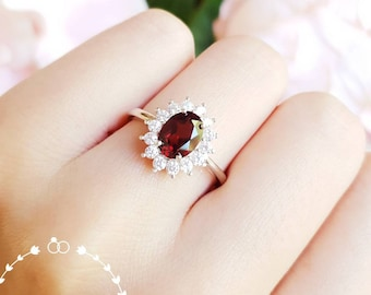 Genuine natural Garnet halo engagement ring, Deep Red Garnet promise ring, white/rose gold plated sterling silver, January Birthstone gift