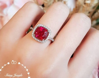 Cushion cut halo design genuine lab grown ruby engagement ring, July birthstone promise ring, white gold plated silver, square ruby ring