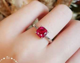 Cushion cut ruby ring, lab Ruby ring, promise ring, engagement ring, white gold plated sterling silver, red gemstone ring, square cut