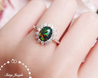 Halo Black Opal ring, cabochon Opal ring with diamond simulants halo, promise ring, October Birthstone ring, engagement ring, modern ring