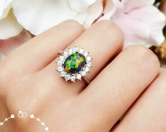 Black Opal Halo Engagement ring, 7*9 mm cabochon Black Opal ring with diamond simulants, October Birthstone promise ring, Modern Opal Ring