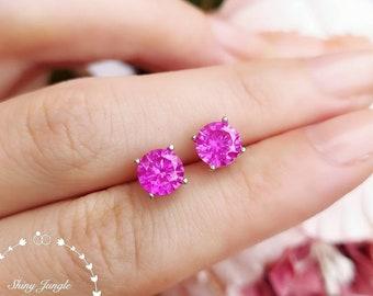 1 carat Hot Pink Genuine Lab Grown Sapphire Stud Earrings, 6*6 mm Round Pink Sapphire Earrings, Simple Bridal Earrings, Minimalist Earrings