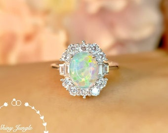 Art Deco Halo Opal Engagement ring, 7*9 mm Oval white opal Cabochon Promise Ring with Rectangular Diamond Simulant Halo, October Birthstone