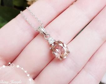 Morganite necklace, drop Morganite pendant, padparadscha sapphire colour, solitaire pendant, pink stone pendant, oval cut morganite pendant