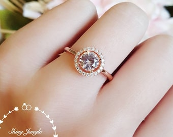 Classic 1 carat Round Morganite Halo Engagement Ring, brilliant cut Morganite promise ring,  white/rose gold plated sterling silver