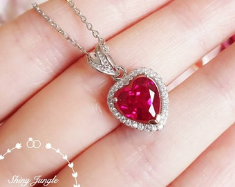 Halo Heart shaped Genuine lab grown Ruby necklace, July Birthstone promise gift, red heart pendant, white/rose gold plated silver, red gem