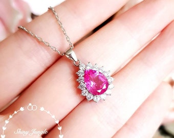 Halo Pear Shaped Genuine Lab Grown Pink Sapphire Necklace, Pear Cut Teardrop Hot Pink Sapphire Pendant, September Birthstone Gift