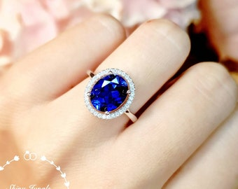 Modern Halo Genuine Lab Grown Sapphire Engagement Ring, 3 carats 8*10 mm oval Royal Blue Sapphire Promise Ring, September Birthstone Gift