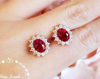 Pigeons blood oval genuine Lab Grown Ruby Stud Earrings, halo ruby earrings, cluster earrings, red bridal earrings, classic vintage design