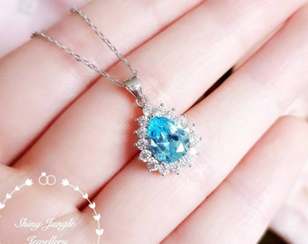 Halo Swiss Blue Topaz pendant, 2 carats 7×9mm pear shaped teardrop Sky Blue topaz necklace with chain, December birthstone, bridal pendant