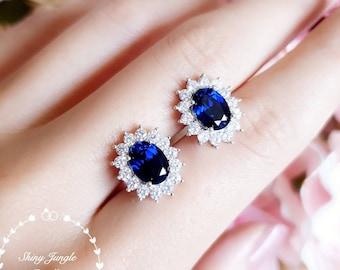 Genuine lab grown Royal Blue sapphire stud earrings, Halo sapphire earrings, blue bridal earrings, oval sapphire earrings, cluster earrings