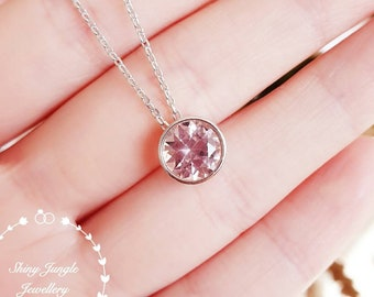 Round Morganite necklace, 2 carats pastel pink morganite pendant with silver chain, bezel set solitaire necklace, pink stone pendant