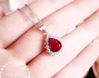 Halo Pear shaped genuine lab grown Ruby necklace, July birthstone pendant, pear cut Ruby pendant, teardrop Ruby pendant, bridal pendant