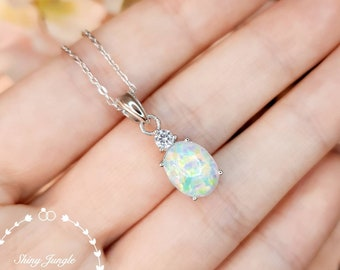 Oval Cabochon White Fire Opal Necklace, 3 carats 8*10 mm Oval Opal Pendant with one Diamond Simulant, October Birthstone Necklace Gift