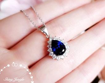 Halo Pear shaped Royal Blue sapphire necklace, September birthstone pendant, pear cut teardrop sapphire pendant, bridal wedding necklace