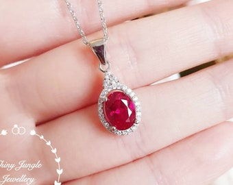 Three stone halo design genuine lab grown ruby necklace, July birthstone pendant gift, white gold plated sterling silver, bridal necklace