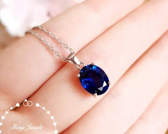 Genuine Lab Grown Royal Blue Sapphire Pendant, Simple Oval Sapphire Solitaire Necklace, White Gold Plated Silver, September Birthstone Gift