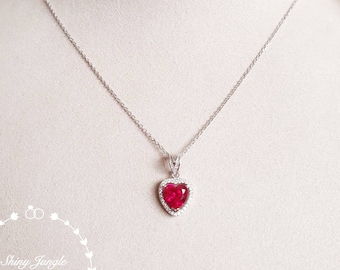 Heart Cut Ruby Necklace, Halo Heart Shaped 2 carats 8*8 mm Genuine Lab Grown Ruby necklace, July Birthstone promise gift, red heart pendant