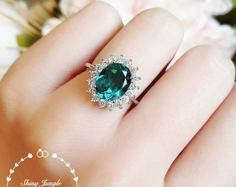 Indicolite tourmaline ring, bluish green tourmaline ring, Halo cluster ring, white gold plated silver, oval cut, teal stone ring, blue gem
