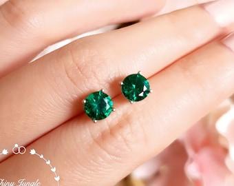 1 carat Round Emerald Stud Earrings, Simple 6mm Round Cut Muzo Green Emerald Earrings, Silver Emerald Earrings, May Birthstone Gift