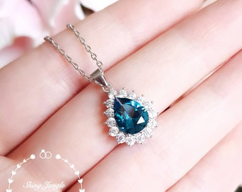 Halo London Blue Topaz pendant, 2 carats 7×9mm pear shaped teardrop Teal Blue topaz necklace with chain, December birthstone, bridal pendant