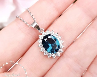 Halo London Blue Topaz Pendant,  Oval Cut 3 cts 8*10 mm London Blue Topaz Necklace, December Birthstone Gift, Blue Gemstone Pendant