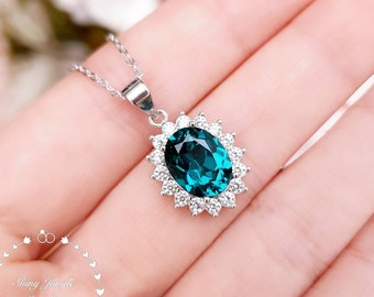 Halo Indicolite Tourmaline Necklace, Oval Cut 3ct 8*10 mm Teal Green Tourmaline Pendant, Peacock Blue Gemstone Pendant, October Birthstone