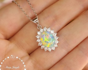 Diana Halo Oval Cut Fire Opal Necklace, 8*10 mm White Opal Cabochon Pendant, October Birthstone Pendant, Modern Opal Statement Necklace