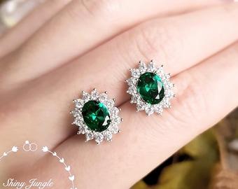 Halo Oval Emerald Stud Earrings, Muzo Green Emerald Earrings, Emerald Cluster Earrings, Green Bridal Earrings, Vintage Inspired Earrings