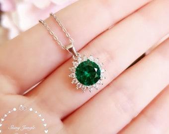 Halo Round Emerald Necklace, 2 Carats 8mm Muzo Green Emerald Solitaire Necklace, Royal Halo Emerald Pendant, May Birthstone Gift