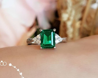 Three stone emerald cut emerald engagement ring, vivid green emerald ring, green gemstone ring, rectangular ring, white gold plated silver