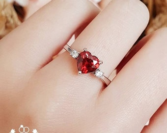 Garnet ring, promise ring, heart shaped 1.5 ct lab red garnet solitaire, three stone ring, white gold plated sterling silver, red stone ring