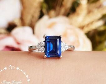 Three Stone Emerald Cut Genuine Lab Grown Sapphire Engagement Ring, 2 Carats 6*8 mm Rectangular Sapphire Promise Ring, September Birthstone