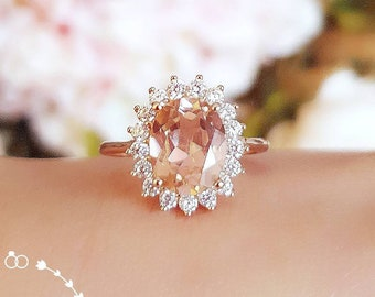 Morganite engagement ring, Rose Gold/White gold plated silver Halo Morganite ring, Diana ring, pink stone ring,padparadscha sapphire color