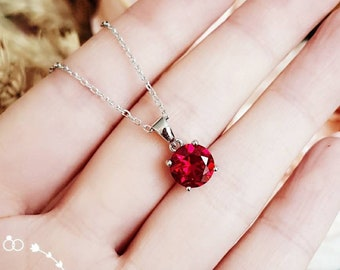 Round genuine lab grown ruby pendant, 2 carats pigeon's blood ruby pendant, solitaire necklace, July birthstone gift, red stone pendant