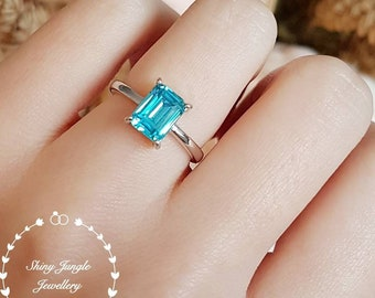 Swiss blue topaz ring, 2 ct lab blue topaz engagement ring, white gold plated sterling silver, blue gemstone ring, rectangular ring