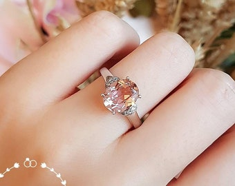 Morganite engagement ring, Oval Morganite ring, Pink Morganite ring, vintage design, white gold plated sterling silver, pink stone ring