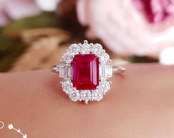 Art deco halo genuine lab grown ruby engagement ring, pigeon's blood emerald cut ruby, white gold plated silver, vintage design cluster ring