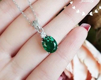 Muzo green emerald necklace with chain, lab emerald, solitaire necklace, white gold plated sterling silver, oval cut, birthstone pendant