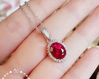 Royal halo design oval genuine lab grown ruby necklace, 3 carats July birthstone pendant necklace, white/rose gold plated sterling silver